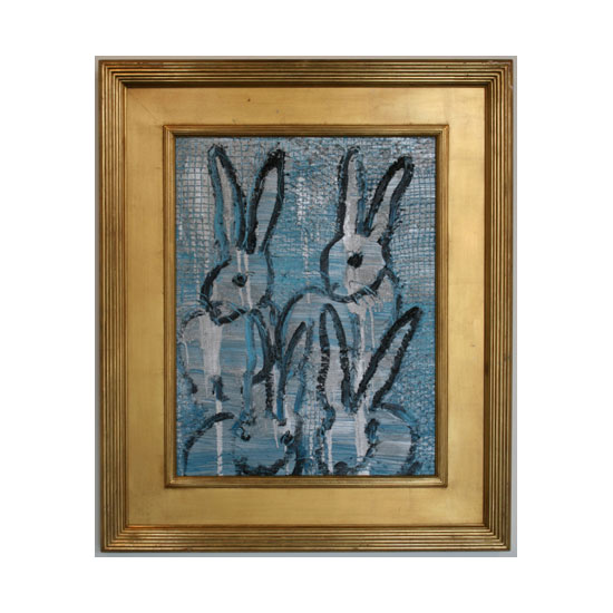 3219 blue cLJ205 2012 oil on wood 26by20 unframe 37by31frame Hunt Slonem <!  (Old) Bunnies [do not use]  >