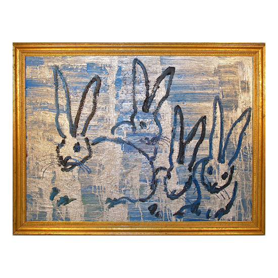 Four Play Oil on wood 36.5 x 48 Framed Hunt Slonem <!  (Old) Bunnies [do not use]  >