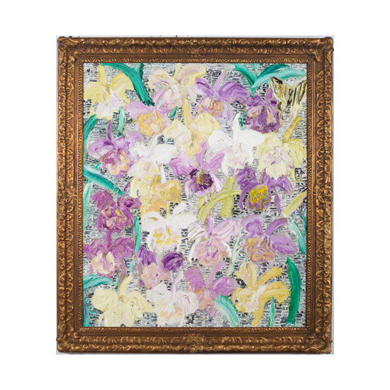 KS0042 iris 2013 34by41 oil on masonite framed Hunt Slonem <!  Other Works  >