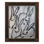 Silvers oil on wood 42x35 Framed 150x150 Hunt Slonem <!  (Old) Bunnies [do not use]  >