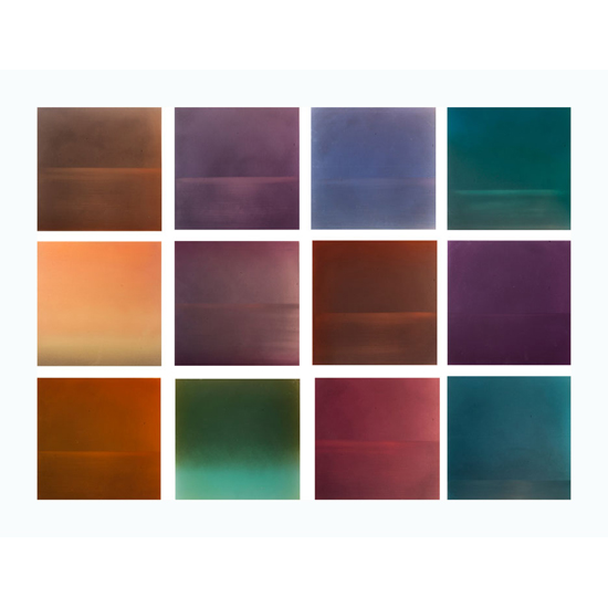 Evening grid 36x48 dye pigment lacquer resin on aluminum plate Miya Ando