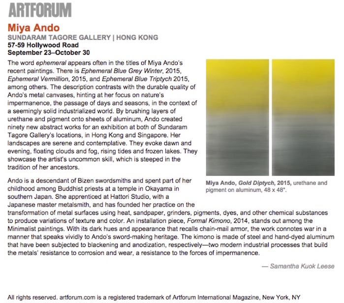 ARTFORUM miya ando sundaram tagore gallery critics picks1 Art Forum  Miya Ando 2015 uncategorized press miya ando press misc press
