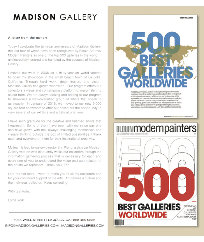 Madison Gallery 7 28 Proof Modern Painters Magazine & Blouin ARTINFO – Top 500 Annual 2016 recent press press modern painters