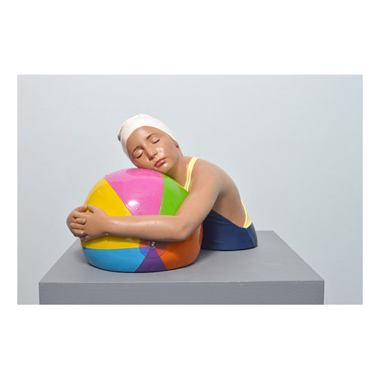 Miniature Brooke With Beach Ball 16 x 12 x 12 Carole Feuerman<!  Small Scale Sculptures  >