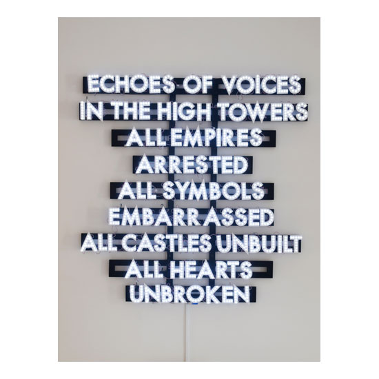 echoes Robert Montgomery <!  Light Poems  >